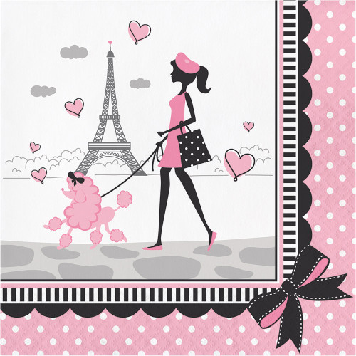"""Pack of 192 Black and Pink Party In Paris Themed Luncheon Napkins 6.5"""" - IMAGE 1"""