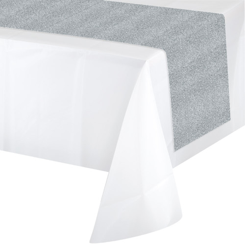 """Pack of 6 Silver Glittering Disposable Party Banquet Table Runners 84"""" - IMAGE 1"""