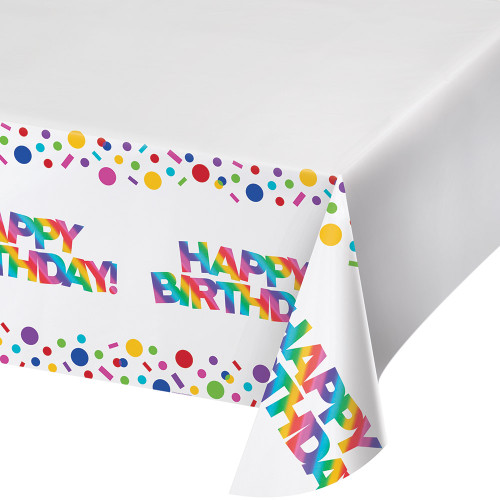 """Pack of 6 Vibrantly Colored Rainbow Foil Happy Birthday Border Print Tablecovers 102"""" - IMAGE 1"""
