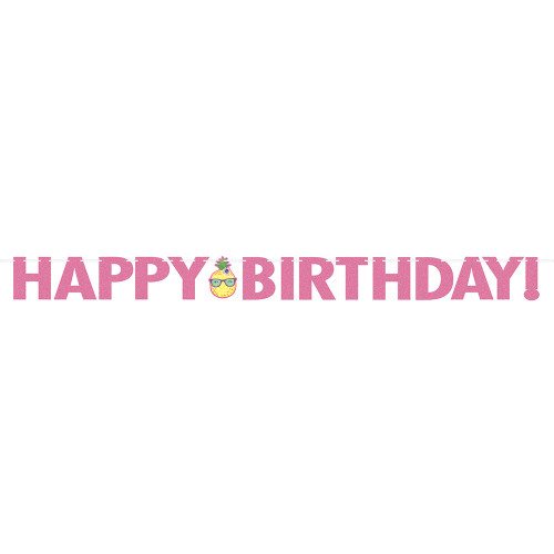 "Pack of 6 Pink and Yellow ""Happy Birthday"" Decorative Party Banner 10' - IMAGE 1"