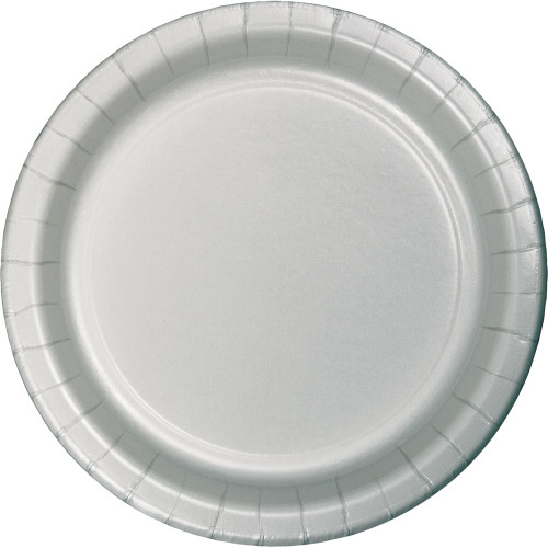 """Club Pack of 96 Shimmering Silver Round Dinner Party Plates 9"""" - IMAGE 1"""