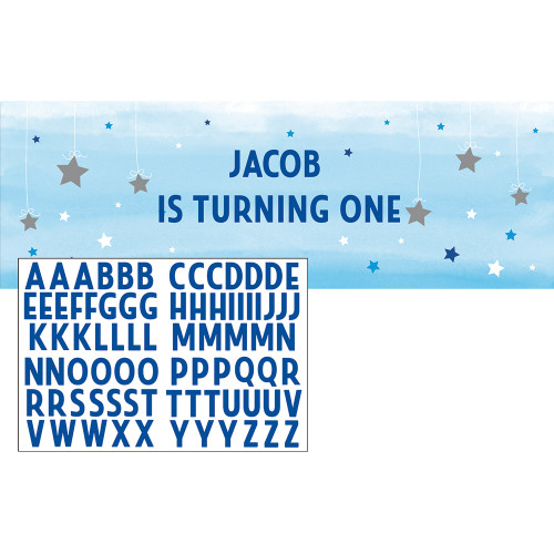 """Pack of 6 Blue and Gold One Little Star Boy Giant Party Banner 11.5"""" - IMAGE 1"""