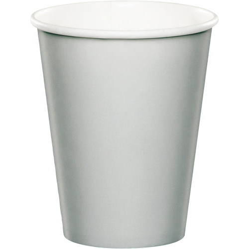 Club Pack of 96 Shimmering Silver Disposable Party Cups - IMAGE 1