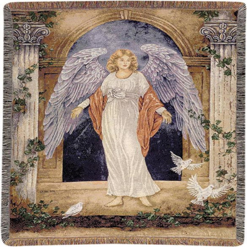 """White and Blue Guardian Angel Contemporary Fringed Tapestry Throw Blanket 51"""" x 68"""" - IMAGE 1"""