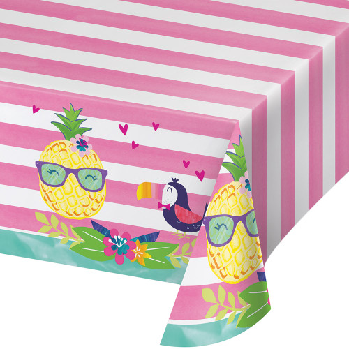 """Pack of 6 Pink and Yellow Pineapple with Friend Tablecovers 102"""" - IMAGE 1"""