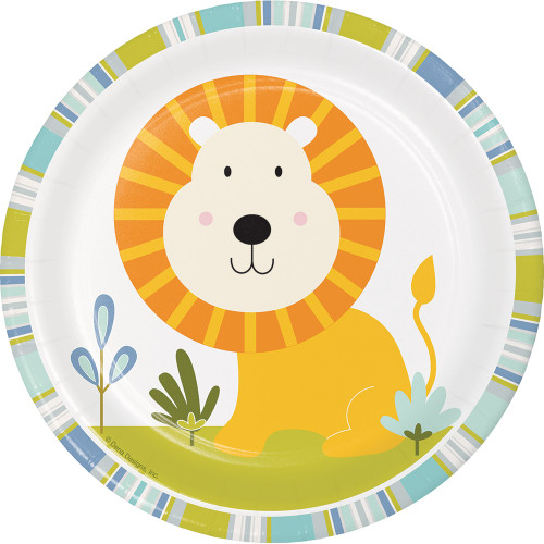 """Club Pack of 96 White and Yellow Happy Jungle Lion Luncheon Plates 6.75"""" - IMAGE 1"""