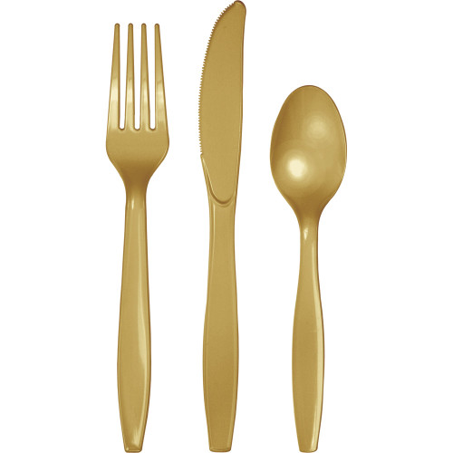 """Club Pack of 96 Glittering Gold Party Knives, Forks and Spoons 7.5"""" - IMAGE 1"""