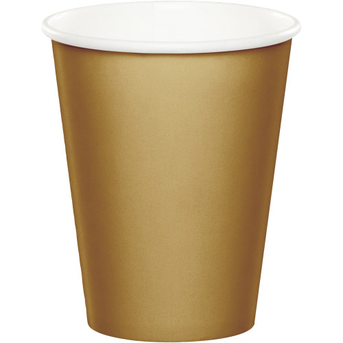 Club Pack of 96 Glittering Gold Solid Disposable Party Cups - IMAGE 1