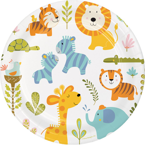 """Club Pack of 96 Vibrantly Colored Happy Jungle Dinner Plates 8.8"""" - IMAGE 1"""