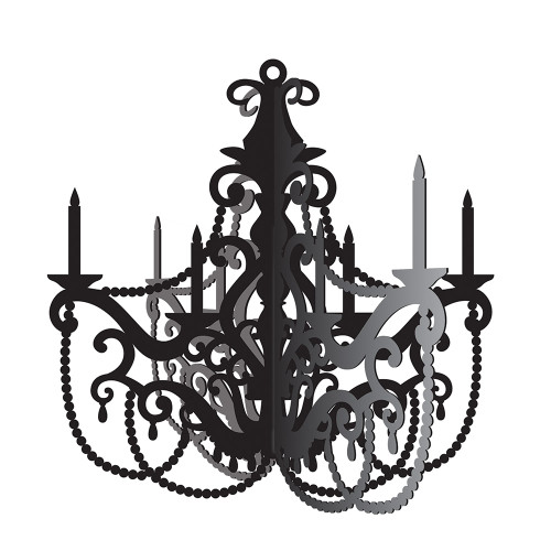 """Club Pack of 12 Black and Gray Antique Style Chandelier Cutout Decorations 17"""" - IMAGE 1"""