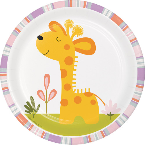 """Club Pack of 96 Yellow and White Happy Jungle Giraffe Luncheon Plates 6.75"""" - IMAGE 1"""