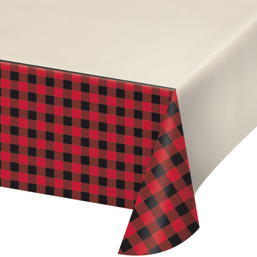 """Pack of 6 Black and Red Buffalo Plaid Decorative Table cover 102"""" - IMAGE 1"""