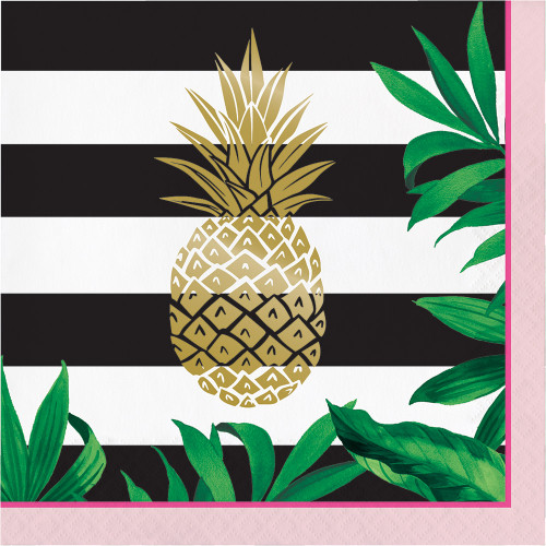 """Club Pack of 192 Green and Yellow Pineapple Disposable Luncheon Napkins 6.5"""" - IMAGE 1"""