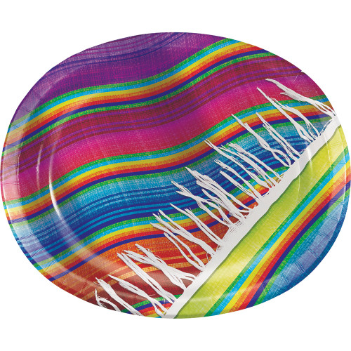 """Pack of 96 Pink and Blue Oval Platters Disposable Plates 12"""" - IMAGE 1"""