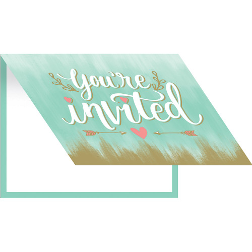 """Club Pack of 48 Green and Brown """"You're Invited"""" Folder Over Cards 5"""" - IMAGE 1"""