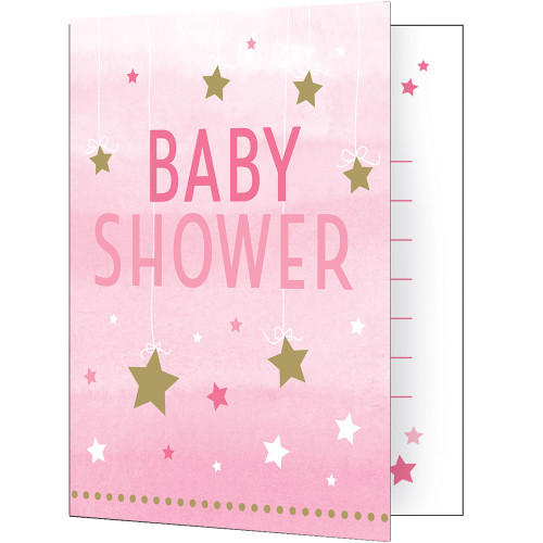 """Club Pack of 48 Pink and White 'Baby Shower' Fold-over Invitations 7.5"""" - IMAGE 1"""