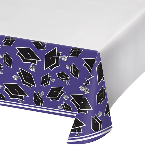 """Club Pack of 12 Black and Purple School Spirit Decorative Table Cover 102"""" - IMAGE 1"""