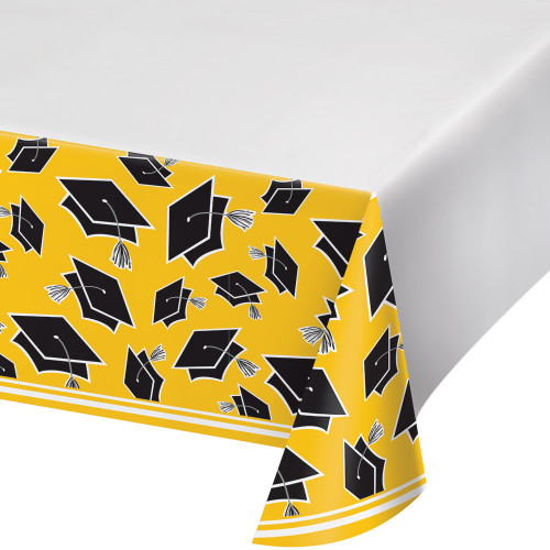 """Club Pack of 12 Black and Yellow School Spirit Decorative Table Cover 102"""" - IMAGE 1"""