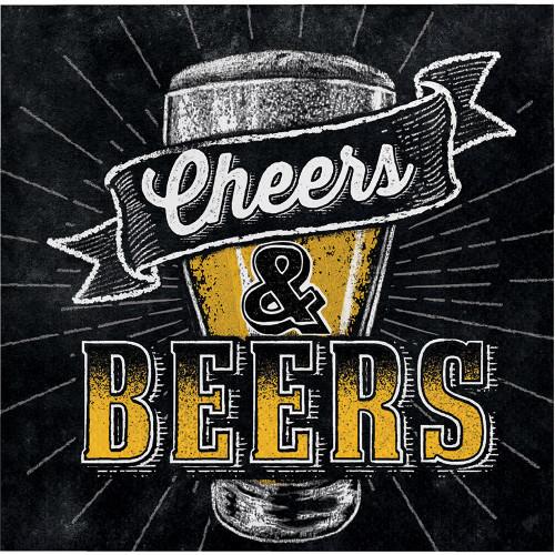 "Club Pack of 192 Black and Brown ""Cheers & Beers"" Disposable Beverage Napkins 5"" - IMAGE 1"
