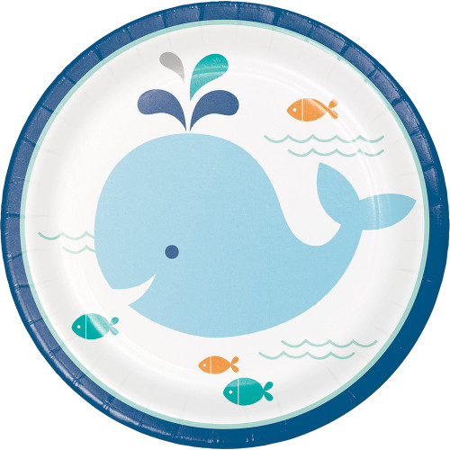"""Club Pack of 96 Orange and Blue Whale Theme Luncheon Plates 6.8"""" - IMAGE 1"""
