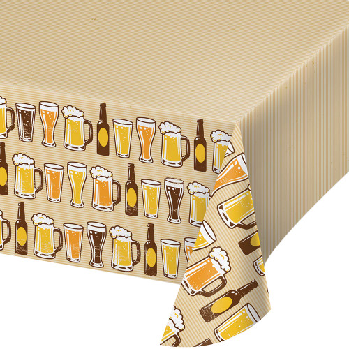 """Pack of 6 Yellow and Brown Cheers Beers Plastic Table Cover 16.2"""" - IMAGE 1"""