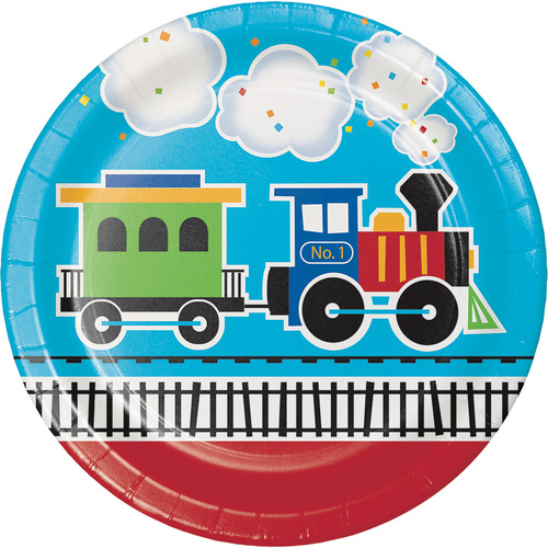 """Club Pack of 96 Blue and Brown All Aboard Dinner Plates 8.8"""" - IMAGE 1"""