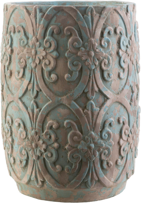 """22.1"""" Rustic Brown and Blue Decorative Cylindrical Ceramic Planter - IMAGE 1"""