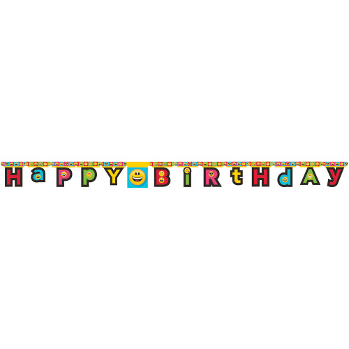 """Club Pack of 12 Vibrantly Colored Show Your Emoji """"Happy Birthday"""" Jointed Banners 7' - IMAGE 1"""