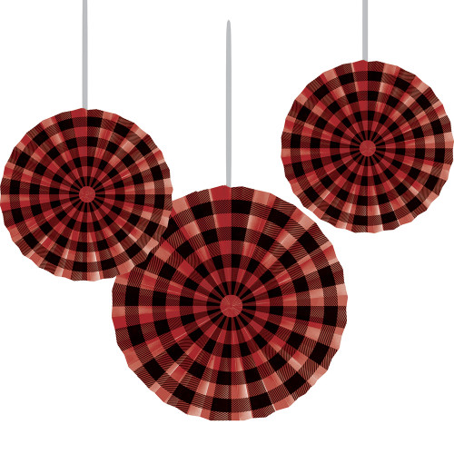 """Club Pack of 18 Black and Red Hanging Fan Party Decorations 16"""" - IMAGE 1"""