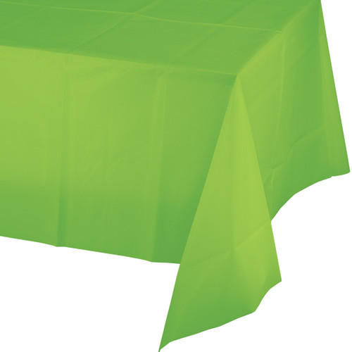 """Pack of 12 Lime Green Disposable Plastic Banquet Party Table Cloth Rolls 108"""" - IMAGE 1"""