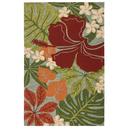 8.8' x 11.7' Red and Green Floral Coastal Lagoon Area Throw Rug - IMAGE 1
