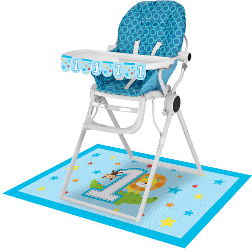 """Pack of 6 Blue and White 1st Birthday High Chair Decorating Kits 13.5"""" - IMAGE 1"""