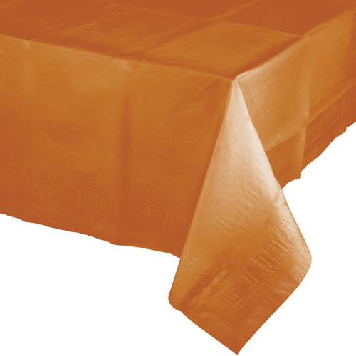 """Pack of 6 Orange Pumpkin Spice Thanksgiving Table covers 108"""" - IMAGE 1"""