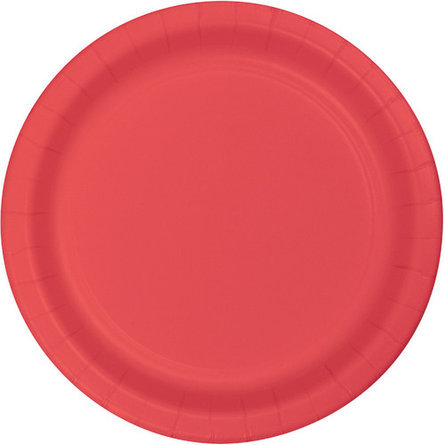 """Club Pack of 240 Coral Red Paper Party Banquet Plates 10"""" - IMAGE 1"""