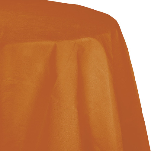 """Club Pack of 12 Gold Pumpkin Spice Decorative Rounded Table Covers 82"""" - IMAGE 1"""