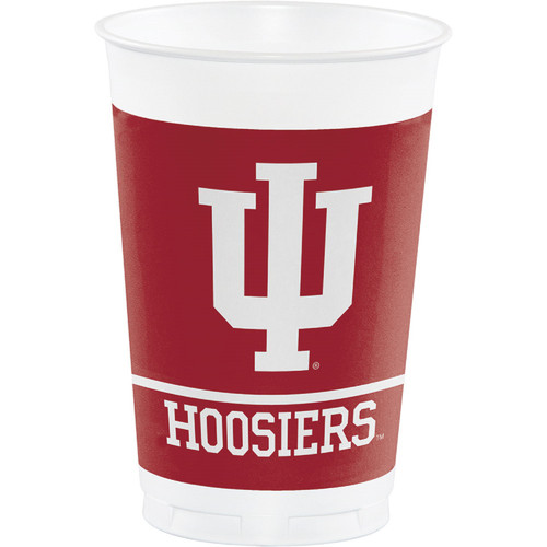 Club Pack of 96 Red NCAA Indiana Hoosiers Disposable Plastic Drinking Party Tumbler Cups 20 oz. - IMAGE 1