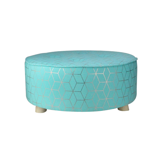 """20"""" Blue and Copper Geometric Print Cotton Canvas Round Stool - IMAGE 1"""