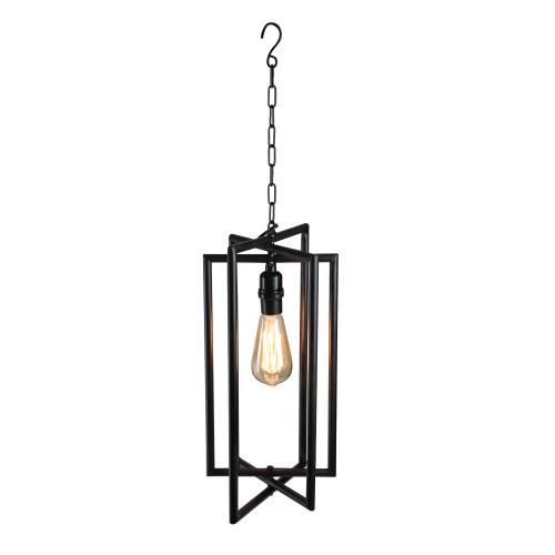 "28"" Black Rectangular Iron Caged Electric Pendant Hanging Lamp with Edison Style Bulb - IMAGE 1"