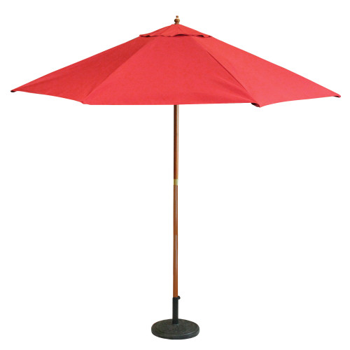 9ft Outdoor Patio Market Umbrella, Red and Cherry Wood - IMAGE 1