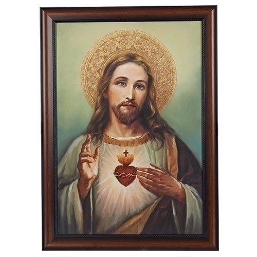 """27"""" Immaculate Heart Jesus Christ Framed Religious Wall Art - IMAGE 1"""