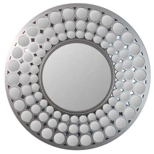 """24.75"""" Silver Cascading Orbs Round Wall Mirror - IMAGE 1"""
