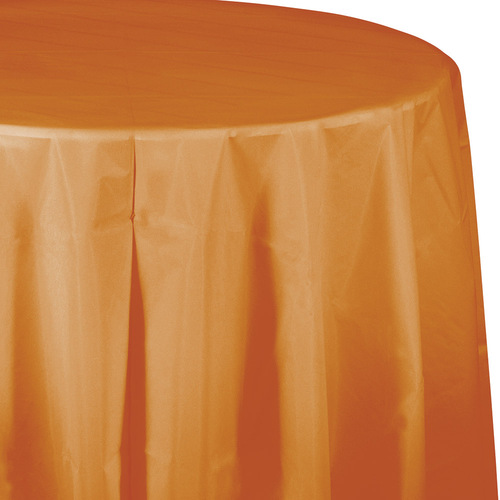 """Club Pack of 12 Orange Pumpkin Spice Decorative Rounded Table Covers 11"""" - IMAGE 1"""