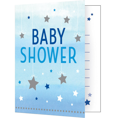"""Club Pack of 48 Blue and White 'Baby Shower' Fold-over Invitations 7.5"""" - IMAGE 1"""