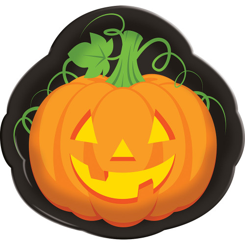 """Club Pack of 12 Vibrantly Colored Pumpkin Face Plastic Party Serving Trays 14"""" - IMAGE 1"""