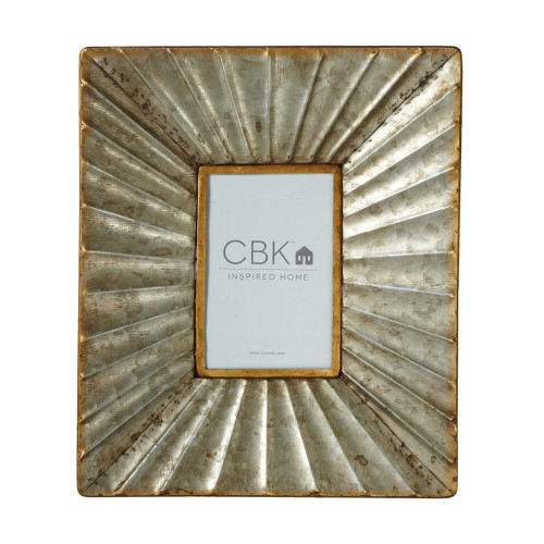 """Set of 2 Gold and Gray Ribbed Galvanized Frame with Rusted Finish 12"""" - IMAGE 1"""