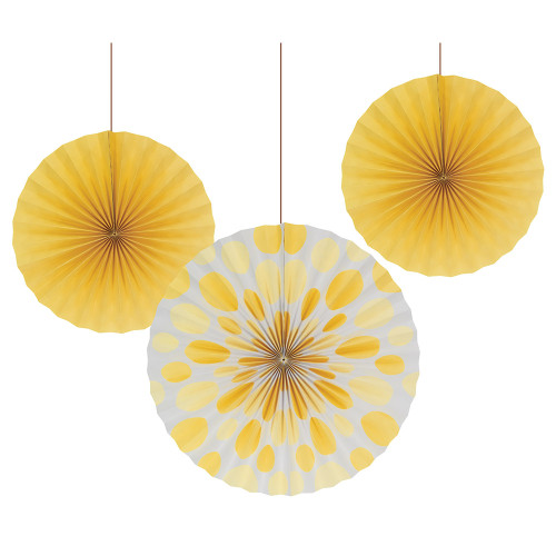 """Club Pack of 18 School Bus Yellow and Polka Dot Hanging Party Decorative Tissue Paper Fans 9"""" - IMAGE 1"""