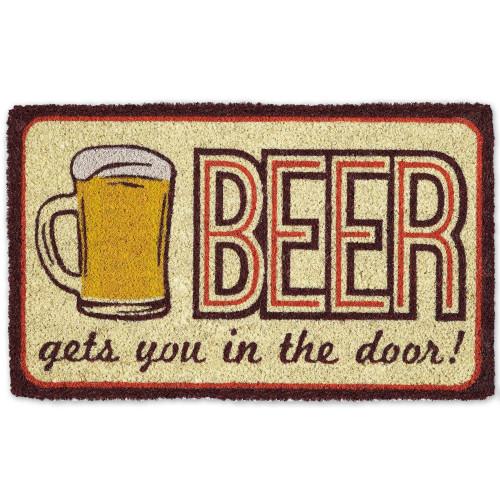"""Beige and Brown 'Beer Gets You in the Door' Doormat 30"""" x 18"""" - IMAGE 1"""