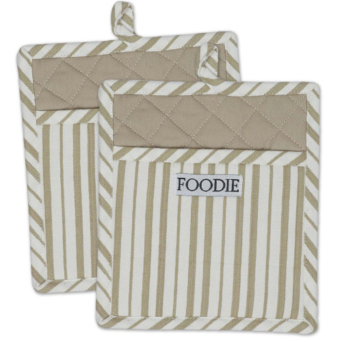 """Set of 2 Beige and White Striped Pattern """"Foodie"""" Potholders 9"""" - IMAGE 1"""
