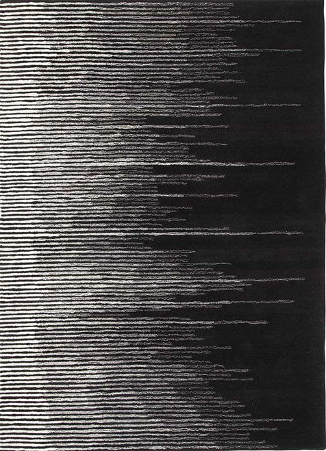9' x 12' Lily White and Jet Black Linear Geometric Tabo Hand Tufted Wool Area Throw Rug - IMAGE 1