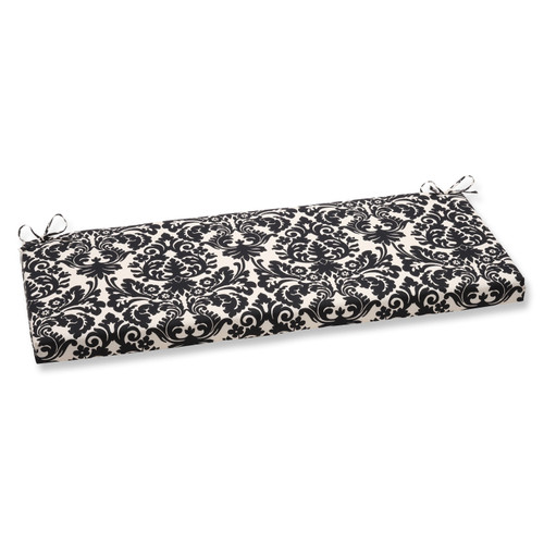 """45"""" White with Black Damask Design Outdoor Indoor Handcrafted Essence Bench Cushion - IMAGE 1"""